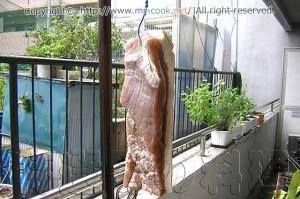 塩抜きした肉を乾燥させる