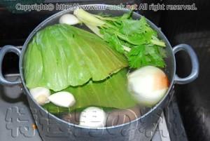 香味野菜を入れてボイル