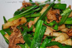 長芋と豚肉のトウチ炒め
