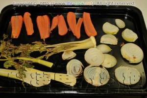 香味野菜を焼く