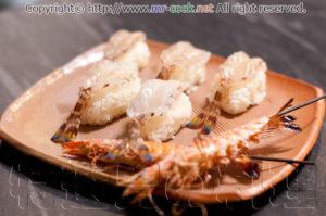 天草車海老の寿司と串焼き