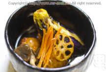 蓮根餅と茄の揚げ浸し