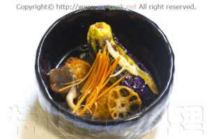 海老入り揚げレンコン餅と茄子の揚げ浸し