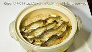 炊き上がった鮎飯