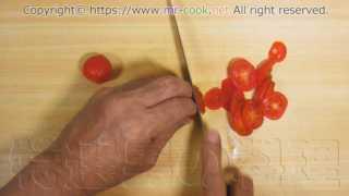 ミニトマトをスライスする